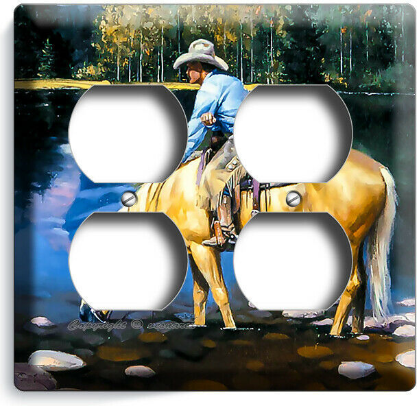 COUNTRY WESTERN COWBOY HORSE LAKE MOUNTAINS LIGHT SWITCH OUTLET WALL PLATE DECOR