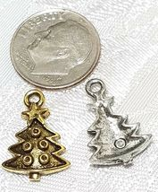 DECORATED CHRISTMAS TREE FINE PEWTER PENDANT CHARM - 12mm L x 18mm W x 3mm D image 3