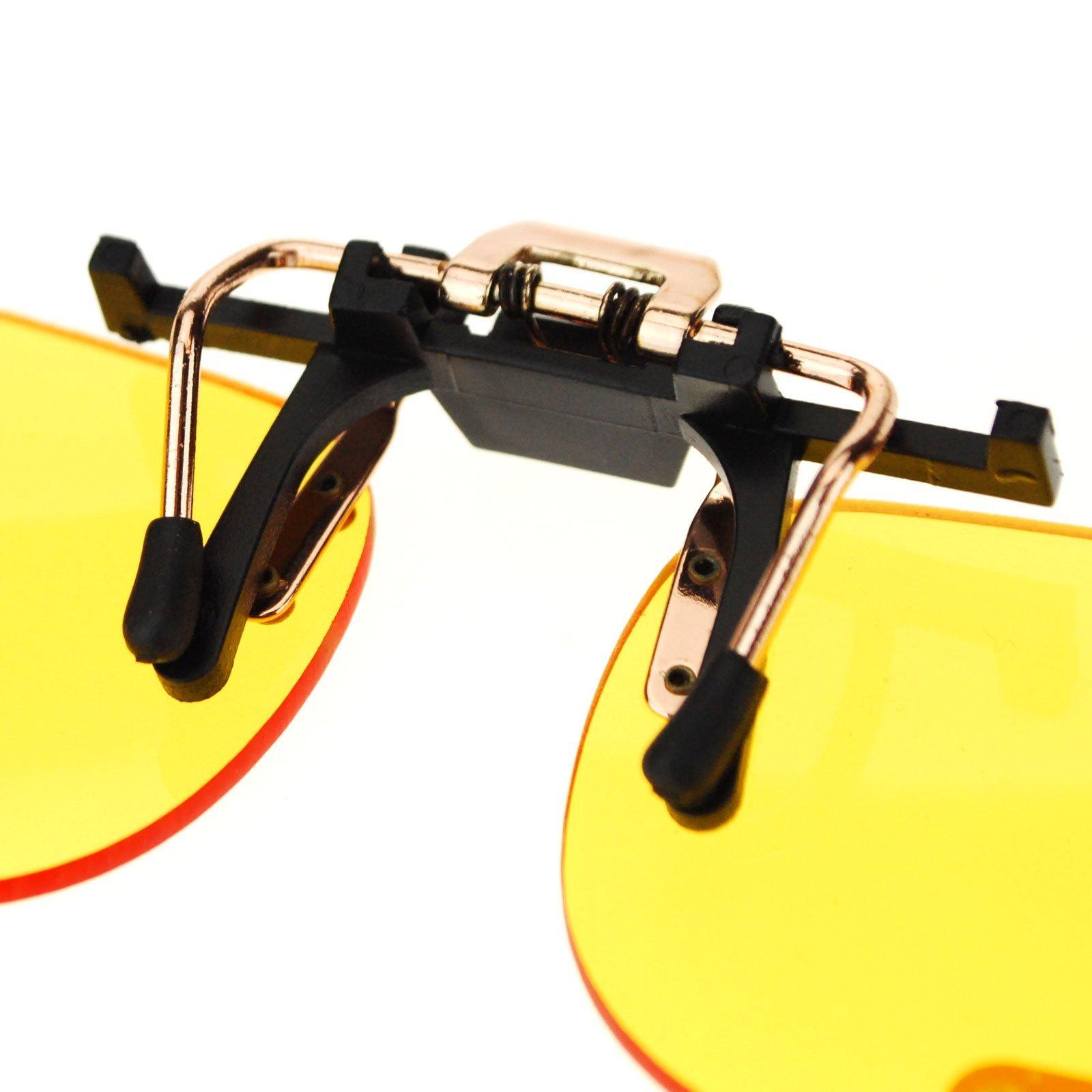 Unisex Retro 39mm x 62mm Clip On Night Driving Yellow Lens Sunglasses Copper