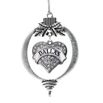 Inspired Silver Dallas Pave Heart Holiday Christmas Tree Ornament With Crystal R - $14.69
