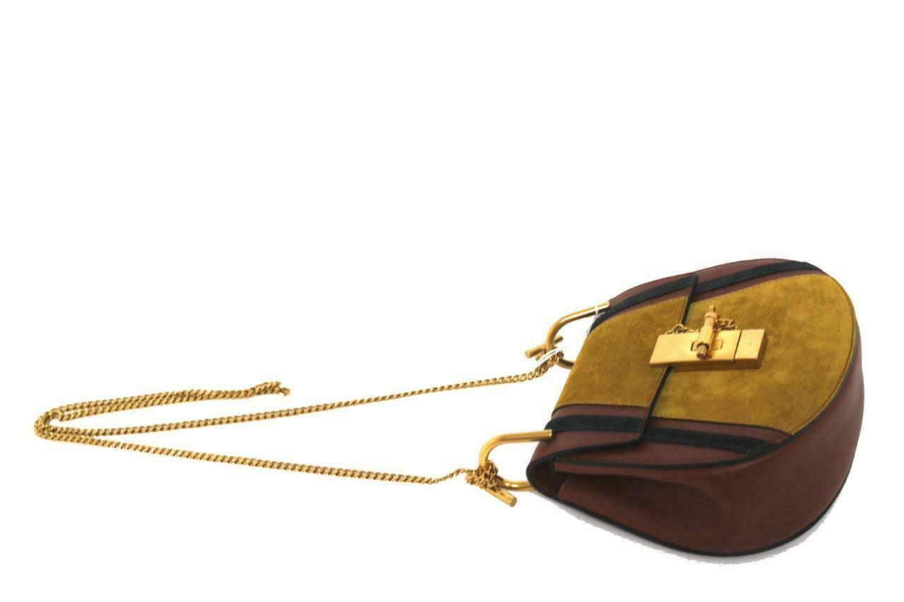 New $2050 Chloe Drew Mini Patchwork Calf Suede Leather Bag