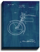 Harley Motorcycle Shock Absorber Patent Print Midnight Blue on Canvas - $39.95+