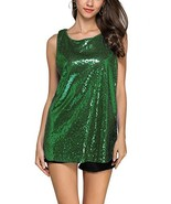 GUANYY Women's Sleeveless Sparkle Shimmer Camisole Vest Sequin Tank Tops... - $29.82