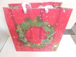 Hallmark Gift Sack Tote Bag Carry Bag Handbags Holiday Wreath Christmas - $11.99