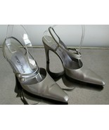 SERGIO ROSSI Pewter Double Strap Sling Backs - Size 36 1/2 - $85.00