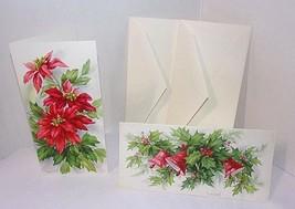 Vtg Hallmark Slim Jims Christmas Cards 2 UNUSED Poinsettias Bells Holly ... - $10.35