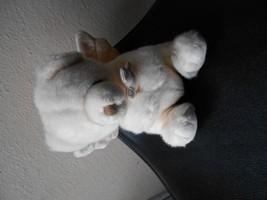 "Russ Berrie White Prayer Bear With Wings Angel & Cross Vgc Cute 8"" Tall Sitting - $5.40"