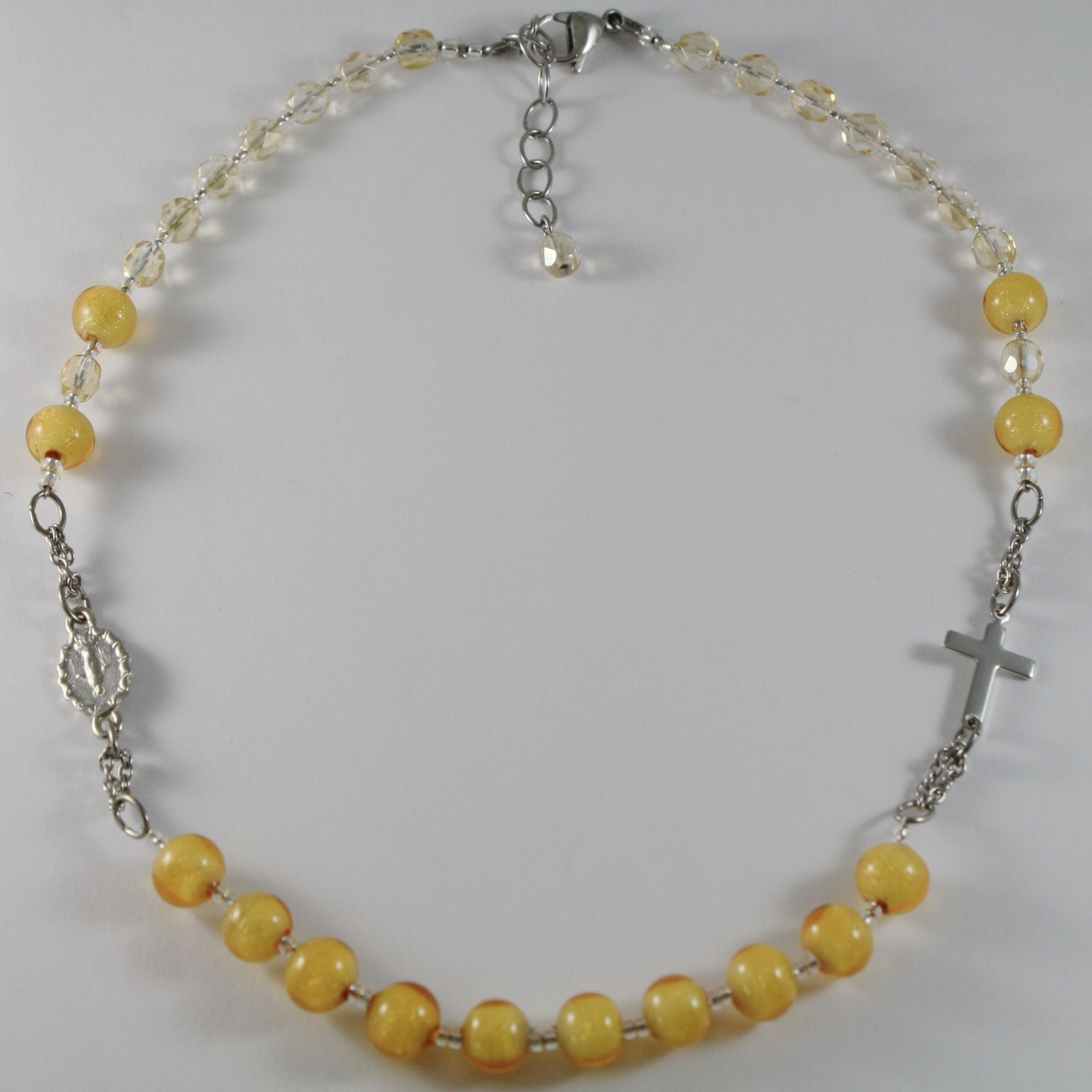 NECKLACE ANTICA MURRINA VENEZIA IN ROSARIO WITH MURANO GLASS YELLOW CROSS