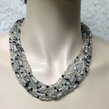 Vintage, Multi-layer, 8-Strands, 19-inch Black n Clear Glass Beaded Necklace - $9.45
