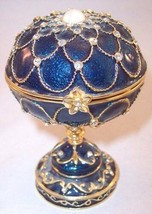 Impulse Collectables Jeweled Enameled Midnight Blue Pedestal Music Trink... - $34.99