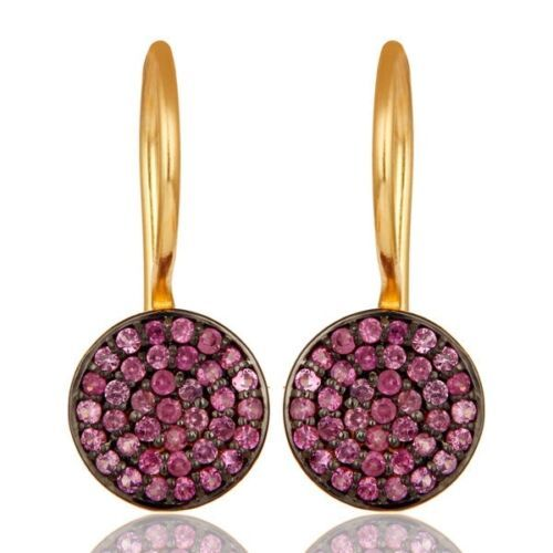 Pink Sapphire 18K Gold Plated 925 Sterling Silver Dangle Earrings Jewelry