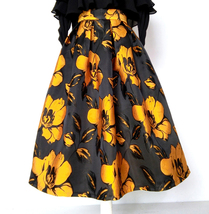 Yellow Floral Pattern Midi Skirt Autumn Winter Flower Midi-Calf Tea Length Skirt