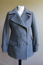 Talbots 4 P Petite Gray Wool Double Breasted Pea Coat Jacket Insulated - $77.90