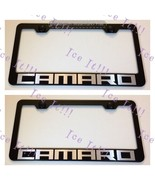 """2X """"CAMARO"""" Stainless Steel Black License Plate Frame Rust Free W/ Bolt Caps - $23.75"""