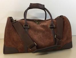 "Suede Brown Leather 21""  Duffle Bag Marlboro Guts Grit Gear 2003 Shoulde... - $29.69"