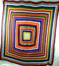 """Vintage 51"""" in or 129 cm Afghan Hand Crafted Multi-Color with a Navy Blu... - $33.99"""