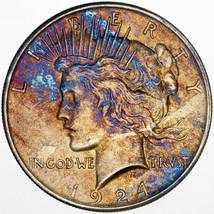 1924-P PEACE SILVER DOLLAR UNIQUE MONSTER COLORING BU UNC NICE TONED (MR) - $197.99