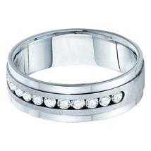 14kt White Gold Mens Machine Set Round Diamond Wedding Band Ring 1 Cttw - $3,106.60