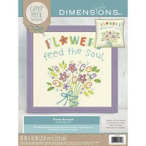 """Flowers Feed The Soul Flower Bouquet Embroidery Kit Dimensions New 10"""" x... - $20.78"""