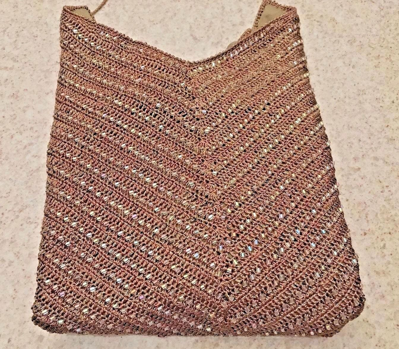 Primary image for Vintage (90's) Ralph Lauren Black Label Brown Beaded Crochet Halter Top (S)