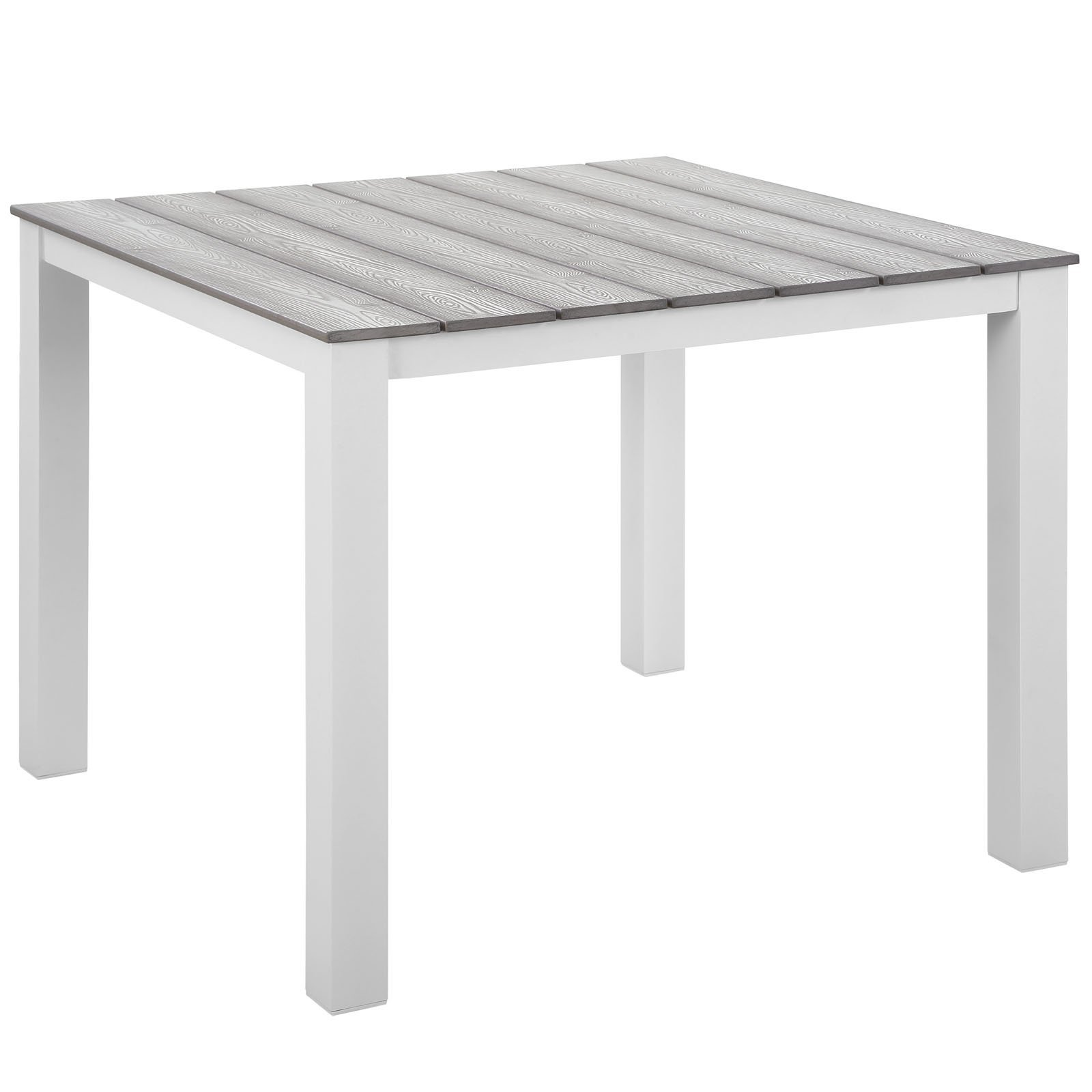 "Maine 40"" Outdoor Patio Dining Table White Light Gray EEI-1507-WHI-LGR"