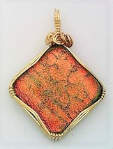 Orange Dichroic Glass Gold Wire Wrap Pendant 2 - $39.00