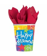 Happy Retirement Congrats Going Away Work Office Party 9 oz. Paper Cups - $7.66