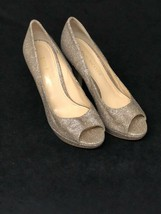 Enzo Angiolini Women's Shimmer Gold Sparkle Peep Toe Pumps Heels Size 5 - $19.99