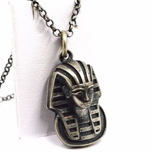 PENDANT NECKLACE, 925 SILVER, BURNISHED SATIN, HEAD PHARAOH, CHAIN ROLO' - $89.95