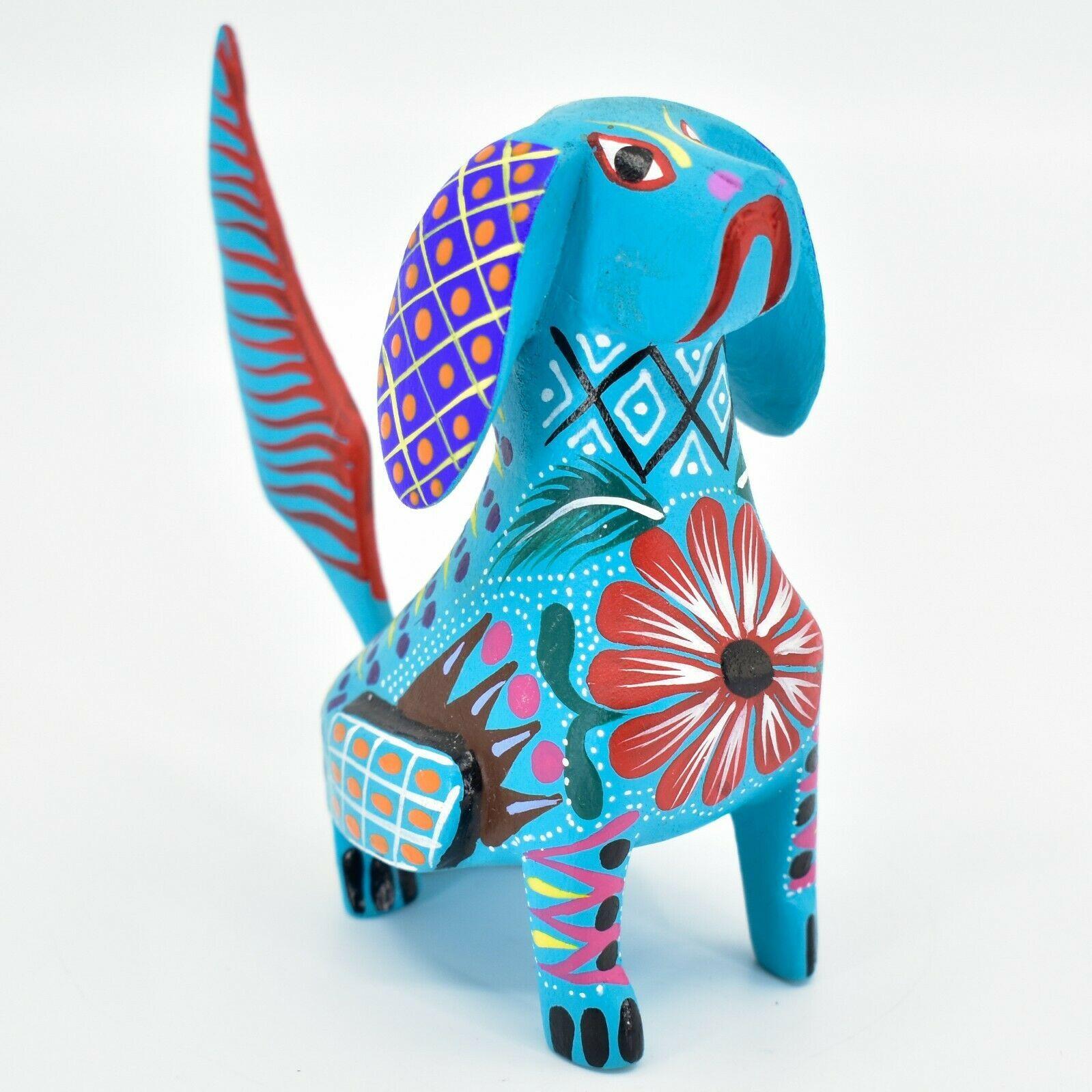 Handmade Alebrije Oaxacan Wood Carving Painted Folk Art Angry Face Dog Figurine