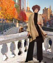 Custom Made Cardigan Swing Coat Scarf Collar Unlined Ponta Knit Look XS ... - $110.00