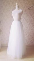 White Lace Tulle Maxi Skirt White Bridal Tulle Skirt A Line Tulle Wedding Skirt image 4