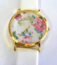 GENEVA PLATINUM BRIGHT WHITE PEONY FLOWERS  GOLD BEZEL STRAP WATCH STRAP... - $10.88
