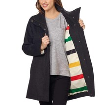 Pendleton Women's Water Resistant Cascade Charcoal Wool Campbell Coat Jacket M image 2