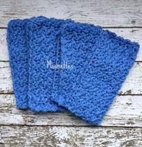 Handmade Kitchen Dish Cloths Cornflower Blue Crochet Cotton Dishcloth Se... - $22.50