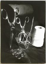Oversized original 1960s scissors and yarn still life, stunning art photo - $55.71