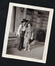 Old Vintage Antique Photograph Cowboy Standing With Woman By Building - $6.93