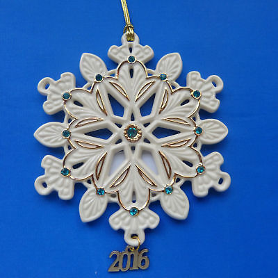 Lenox 2016 Gemmed Snowflake Ornament Annual Green Gold Crystals Christmas NEW