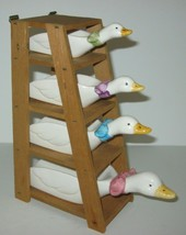 Vintage Ceramic Measuring Cup Set Goose Swan Duck with Wooden Stand / Ha... - $23.33