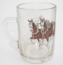"Budweiser Champion Clydesdale Horses Clear Glass 12 oz Beer Mug 4.5"" Vin... - $17.41"