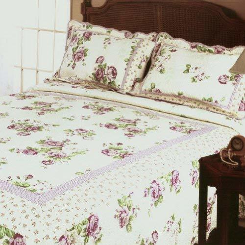 Blancho Bedding [Classical Rose] 3-Pieces Floral Printed-Quilted Cotton Quilt Se