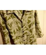 Women XL 1X 16 18 Blouse Sleev Button Career Linen Green Top Shirt Work ... - $13.61