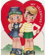 Vintage Valentine Card Girl and Boy Hold Hands A-Meri-Card 1940's - $7.91