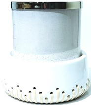 Bath & Body Works White Ceramic with threaded rattan 3 Wick Candle Holder - $21.83