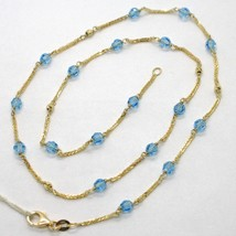 18K YELLOW GOLD NECKLACE EAR SQUARE CHAIN ALTERNATE WITH FACETED BLUE BALLS 4 MM image 1
