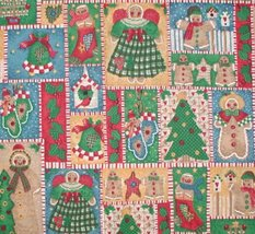 Primitive Christmas Fabric Angels Mittens Gingerbread Trees Birds - $11.00