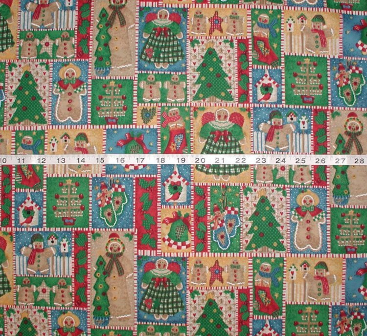 Primitive Christmas Fabric Angels Mittens Gingerbread Trees Birds
