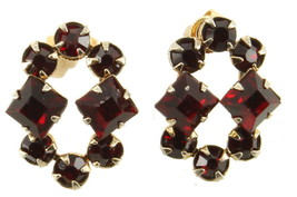 "ANTIQUE VICTORIAN SPELTER & RED RHINESTONE PIERCED POST EARRINGS 1"" - $40.49"