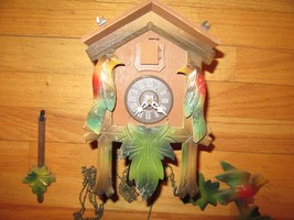 9T/VTG REGULA(?) WEST GERMANY CUCKOO CLOCK/WEIGHTED/BIRD/LEAVES/PARTS OR... - $59.35