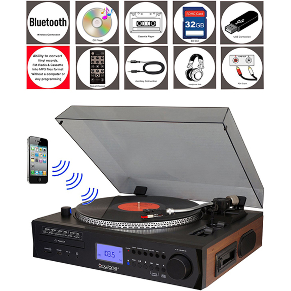 Boytone BT-11B Fully Automatic Large size Turntable, Bluetooth Wireless, 2 built